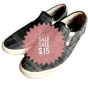 was $35 NOW $15 Marlow Mens Grey Grid Check Casual Loafers Shoes 6